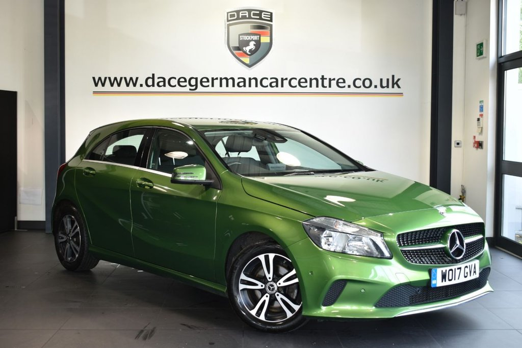 """USED 2017 17 MERCEDES-BENZ A-CLASS 1.5 A 180 D SE EXECUTIVE 5DR 107 BHP Finished in a stunning elbaite metallic green styled with 16"""" alloys. Upon opening the drivers door you are presented with full leather interior, full service history, satellite navigation, heated seats, bluetooth, smartphone integration package, reversing camera, dab radio, attention assist, cruise control, active park assist"""