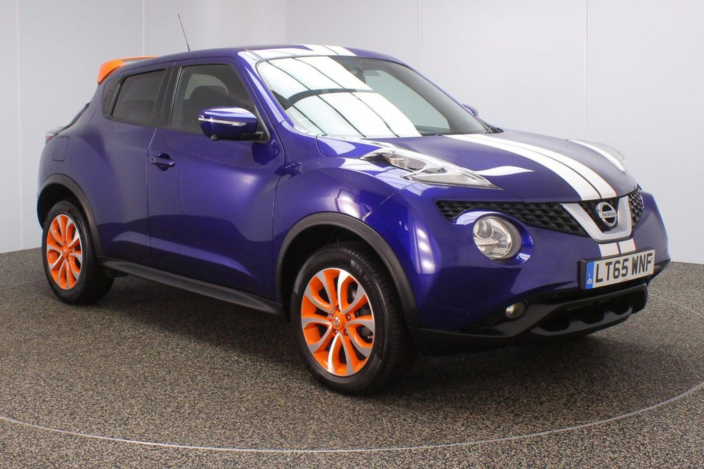 USED 2015 65 NISSAN JUKE 1.5 ACENTA PREMIUM DCI 5DR 1 OWNER 110 BHP SERVICE HISTORY + £20 12 MONTHS ROAD TAX + ELECTRIC SUNROOF + SATELLITE NAVIGATION + AROUND VIEW MONITOR + REVERSE CAMERA + BLUETOOTH + CRUISE CONTROL + CLIMATE CONTROL + MULTI FUNCTION WHEEL + PRIVACY GLASS + BLIND SPOT MONITOR + LANE ASSIST SYSTEM + DAB RADIO + AUX/USB PORTS + ELECTRIC WINDOWS + ELECTRIC/HEATED DOOR MIRRORS + 17 INCH ORANGE ALLOY WHEELS