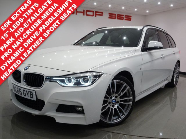 USED 2017 66 BMW 3 SERIES 2.0 320D (190 BHP) M SPORT AUTO TOURING 5DR..PRO NAV..HEATED LEATHERS..CRUISE..LEDS..PRIVACY..POWER BOOT..HIGH SPEC !! PARK AID+LEDS+TINTS+HEATED LEATHER+NAV+CRUISE+MEDIA