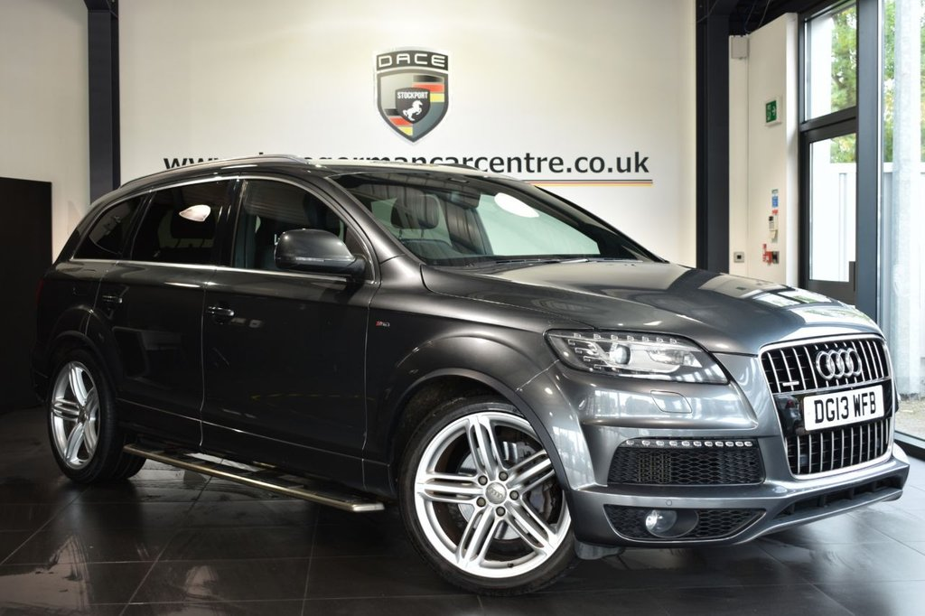 """USED 2013 13 AUDI Q7 3.0 TDI QUATTRO S LINE PLUS 5DR AUTO 245 BHP Finished in a stunning metallic grey styled with 21"""" alloys. Upon opening the drivers door you are presented with full leather interior, full service history, satellite navigation, bluetooth, heated seats, reversing camera, cruise control, xenon lights, climate control, multi functional steering wheel, heated mirrors, parking sensors"""