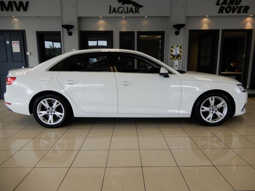 USED 2017 17 AUDI A4 2.0 TDI ULTRA SPORT 4d AUTO 148 BHP FINISHED IN STUNNING WHITE WITH CONTRASTING DARK GREY SEATS + 1 OWNER FROM NEW WITH A FULL SERVICE HISTORY + SATELLITE NAVIGATION + DAB DIGITAL RADIO + BLUETOOTH MEDIA + SMARTPHONE PHONE APP CONNECT + AUTO ADAPTIVE XENON HEADLIGHTS WITH LED DAYTIME RUNNING LIGHTS + RAIN SENSORS + CRUISE CONTROL + POWER FOLDING MIRRORS + AUX & USB CONNECTIVITY + SELECTABLE DRIVING MODES + PADDLE GEAR SELECT + DUAL ZONE AIR CONDITIOING + CLIMATE CONTROL + VOICE COMMAND + ISOFIX POINTS + 60/40 FOLDING REAR SEATS