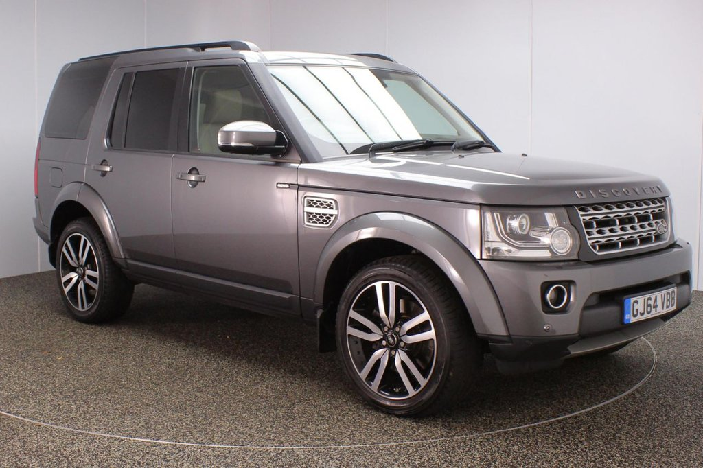 USED 2014 64 LAND ROVER DISCOVERY 3.0 SDV6 HSE 5DR AUTO 255 BHP 7 SEATS + HEATED LEATHER SEATS + TRIPLE SUNROOF + SATELLITE NAVIGATION + HEATED REAR SEATS + SURROUND CAMERA SYSTEM + HEATED STEERING WHEEL + PARKING SENSOR + BLUETOOTH + CRUISE CONTROL + CLIMATE CONTROL + MULTI FUNCTION WHEEL + MERIDIAN PREMIUM SPEAKERS + XENON HEADLIGHTS + PRIVACY GLASS + ELECTRIC/MEMORY FRONT SEATS + PARK HEATING WITH REMOTE CONTROL + DAB RADIO + AUX/USB PORTS + ELECTRIC WINDOWS + ELECTRIC/HEATED/FOLDING DOOR MIRRORS + 20 INCH ALLOY WHEELS