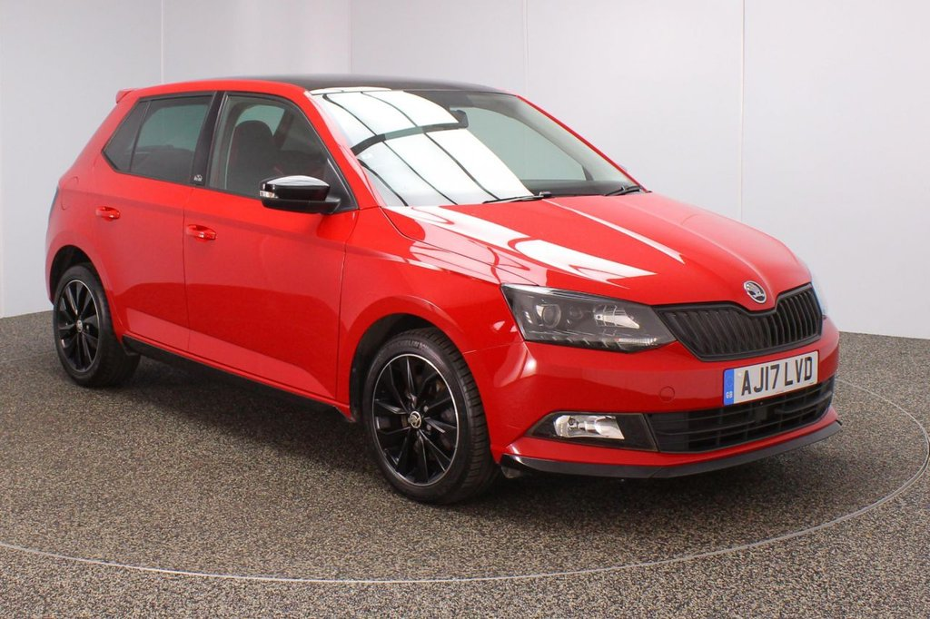 USED 2017 17 SKODA FABIA 1.0 MONTE CARLO TSI 5DR 1 OWNER 109 BHP SERVICE HISTORY + PANORAMIC ROOF + PARKING SENSOR + BLUETOOTH + CRUISE CONTROL + MULTI FUNCTION WHEEL + AIR CONDITIONING + PRIVACY GLASS + DAB RADIO + AUX/USB PORTS + ELECTRIC WINDOWS + ELECTRIC/HEATED DOOR MIRRORS + 16 INCH ALLOY WHEELS