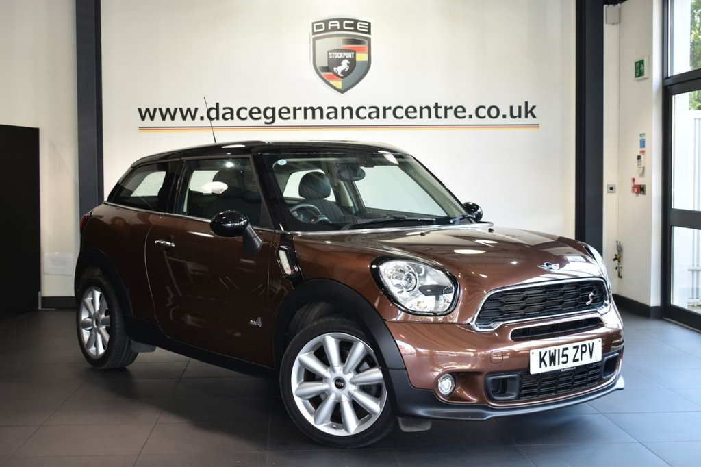 """USED 2015 15 MINI PACEMAN 1.6 COOPER S ALL4 3DR 184 BHP Finished in a stunning brilliant metallic copper styled with 18"""" alloys. Upon opening the drivers door you are presented with half leather interior, full service history, bluetooth, dab radio, xenon lights, Automatic air conditioning, LED fog lights, light package, Rain sensors, Radio MINI Boost CD, parking sensors"""