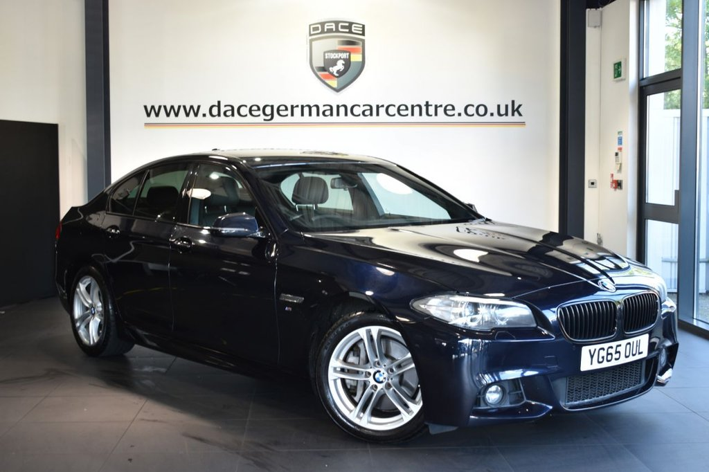 USED 2015 65 BMW 5 SERIES 2.0 525D M SPORT AUTO 4DR 215 BHP Finished in a stunning carbon black styled with alloys. Upon opening the drivers door you are presented with full leather interior, superb service history, satellite navigation, bluetooth, heated seats, cruise control, dab radio, Ambient interior light, LED Fog lights, Automatic air conditioning, parking sensors