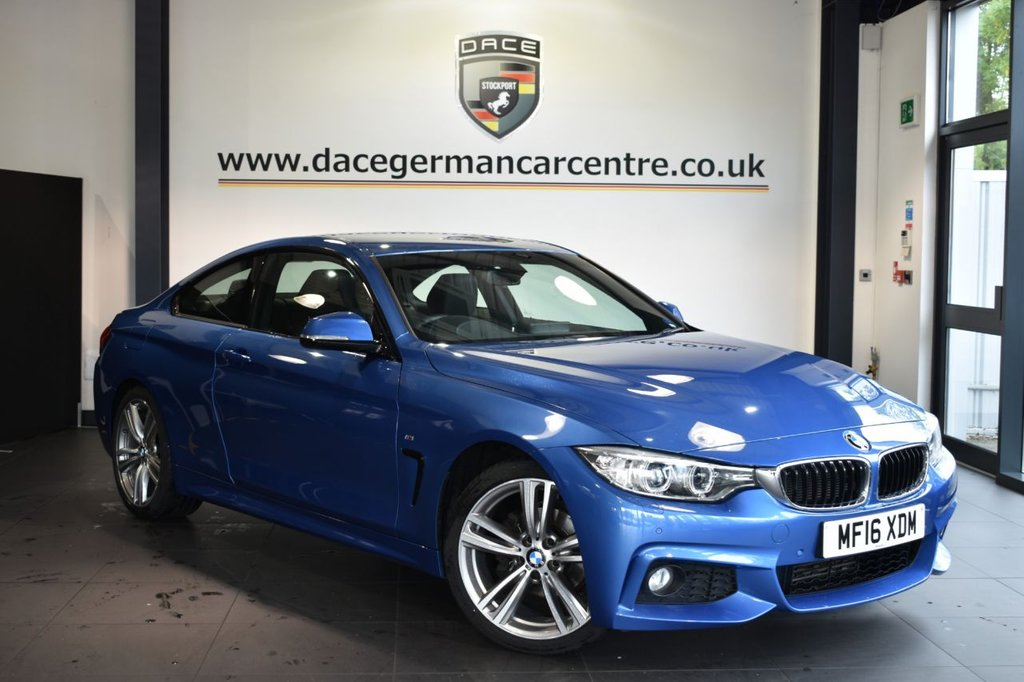 USED 2016 16 BMW 4 SERIES 2.0 420I M SPORT 2DR 181 BHP Finished in a stunning estoril metallic blue styled with alloys. Upon opening the drivers door you are presented with full leather interior, full service history, pro satellite navigation, bluetooth, heated sport seats, dab radio, xenon lights, cruise control, Headlight cleaning system, rain sensors, Light package, Automatic air conditioning, parking sensors