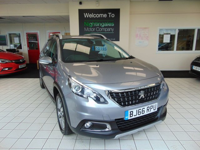 """USED 2016 66 PEUGEOT 2008 1.6 BLUE HDI S/S ALLURE 5d 120 BHP THIS PEUGEOT 2008 1.6 HDI S/S ALLURE 5 DOOR COMES WITH FULL SERVICE HISTORY + MARCH 2021 MOT + BLUETOOTH + 7"""" MULTIFUNCTION COLOUR INFO SYSTEM + 17"""" ALLOYS + AIR CONDITIONING + ALARM + DAB RADIO + CORNER ASSIST FOG LIGHTS + REAR PARKING AIDS + PRIVACY GLASS + CRUISE CONTROL + ELECTRIC WINDOWS + REMOTE CENTRAL LOCKING + REAR SPORTS SPOILER + LED DAYTIME RUNNING LIGHTS + USB SOCKET AND 3MM JACK FOR EXTERNAL AUDIO DEVICE + ROOF RAILS + AVIATION STYLE HAND BREAK +"""