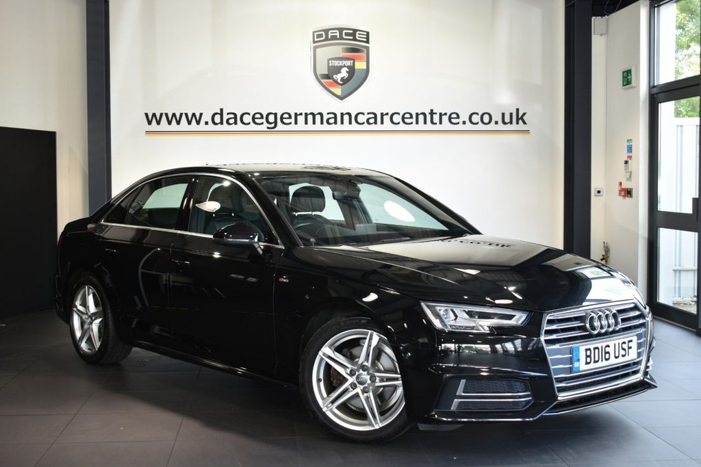 USED 2016 16 AUDI A4 2.0 TFSI S LINE 4DR AUTO 188 BHP Finished in a stunning black styled with alloys. Upon opening the drivers door you are presented with half leather interior, full service history, satellite navigation, bluetooth, dab radio, multi functional steering wheel, cruise control, heated mirrors, parking sensors