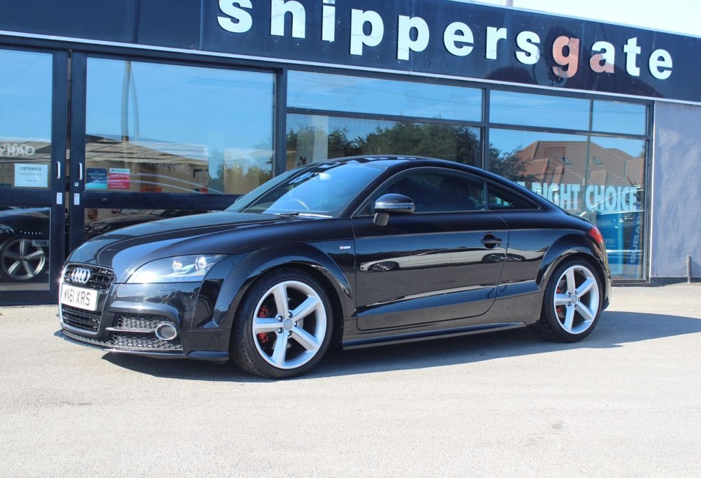 """USED 2011 61 AUDI TT 2.0 TFSI QUATTRO S LINE 2d 211 BHP Phantom Black Metallic, Full Black Leather Interior, Heated Seats, Rear Parking Sensors, Remote Central Locking, Electric Mirrors and Windows, 18"""" Alloy Wheels, Bridgestone Tyres x4 , 2 Keys and Book Pack, Full Service History including Haldex Oil and S tronic Oil and Filter Change."""
