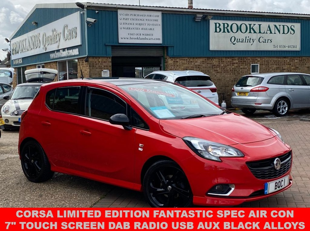 "USED 2014 64 VAUXHALL CORSA 1.4 LIMITED EDITION 5 Door Flame Red 37863 miles FSH 89 BHP Corsa Limited Edition With Fantastic Spec inc Air Con 7"" Touch Screen DAB Radio USB AUX Black Alloys+Roof+Mirrors"