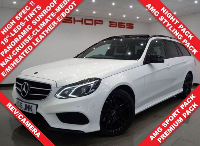 USED 2016 16 MERCEDES-BENZ E-CLASS 2.1 E220 CDI BLUETEC (175 BHP) AMG NIGHT EDITION (PREMIUM) 7G-TRONIC PLUS 5DR..PANORAMIC SUNROOF..NAV..E/M/HEATED LEATHERS..CRUISE..XENONS..PRIVACY..E/BOOT PANROOF+AMG+R/CAM+PARK+TINTS+LEDS+LEATHER+NAV+CRUISE