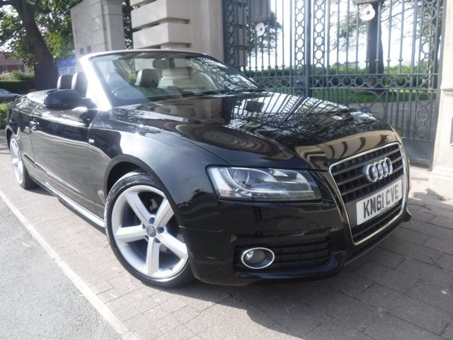 USED 2011 61 AUDI A5 CABRIOLET 2.0 TDI S LINE 2d 168 BHP *** FINANCE & PART EXCHANGE WELCOME *** ELECTRIC ROOF BLUE HOOD FULL BLACK LEATHER PARKING SENSORS AIR/CON