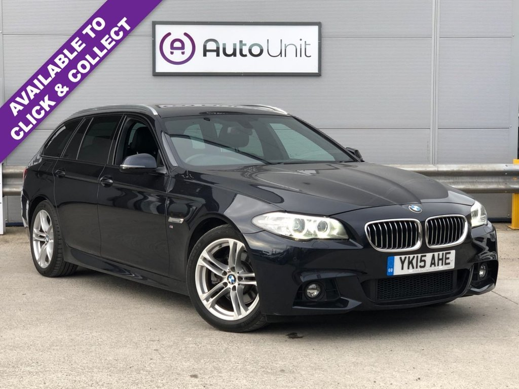 USED 2015 15 BMW 5 SERIES 2.0 520D M SPORT TOURING 5d 188 BHP AUTOMATIC SAT NAV + LEATHER + BLUETOOTH + XENONS