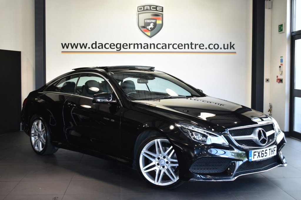 "USED 2015 65 MERCEDES-BENZ E-CLASS 3.0 E350 BLUETEC AMG LINE 2DR AUTO 255 BHP Finished in a stunning obsidian black styled with 19""  alloys. Upon opening the drivers door you are presented with full leather interior, full service history, satellite navigation, bluetooth, panoramic sliding sunroof, heated seats, dab radio, electric folding mirrors, dynamic LED headlights, AMG styling package, active park assist"