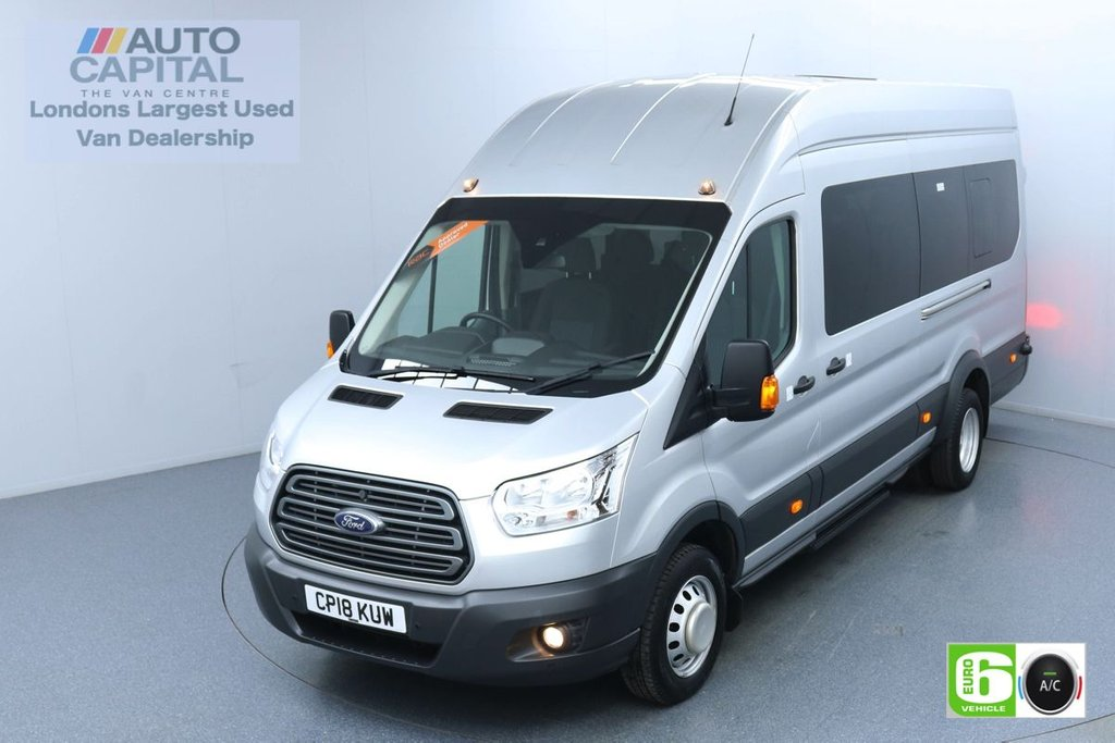 USED 2018 18 FORD TRANSIT 2.2 460 RWD Trend L4 H3 124 BHP 17 Seats Minibus Low Emission Air Con | F-R Parking sensors | Privacy Glass | Digital Tachograph
