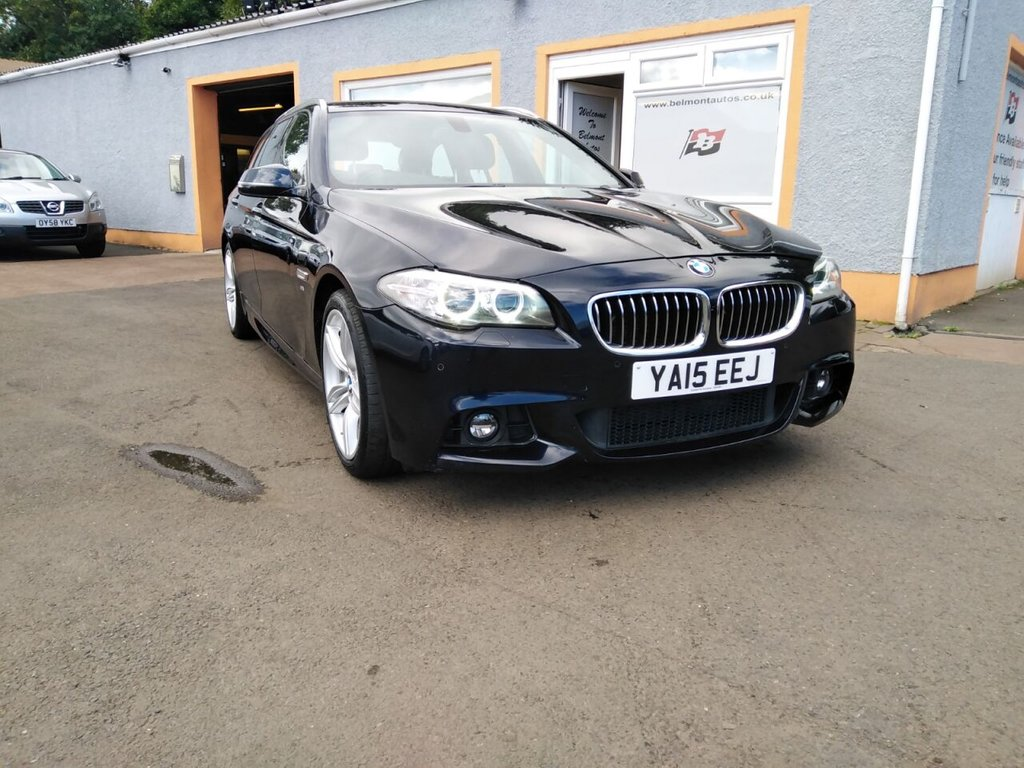 "USED 2015 15 BMW 5 SERIES 2.0 520D M SPORT 4d 188 BHP Black Leather, Colour Sat nav, Bluetooth, Parking sensors, Heated Seats, 19"" Alloys, Media player"