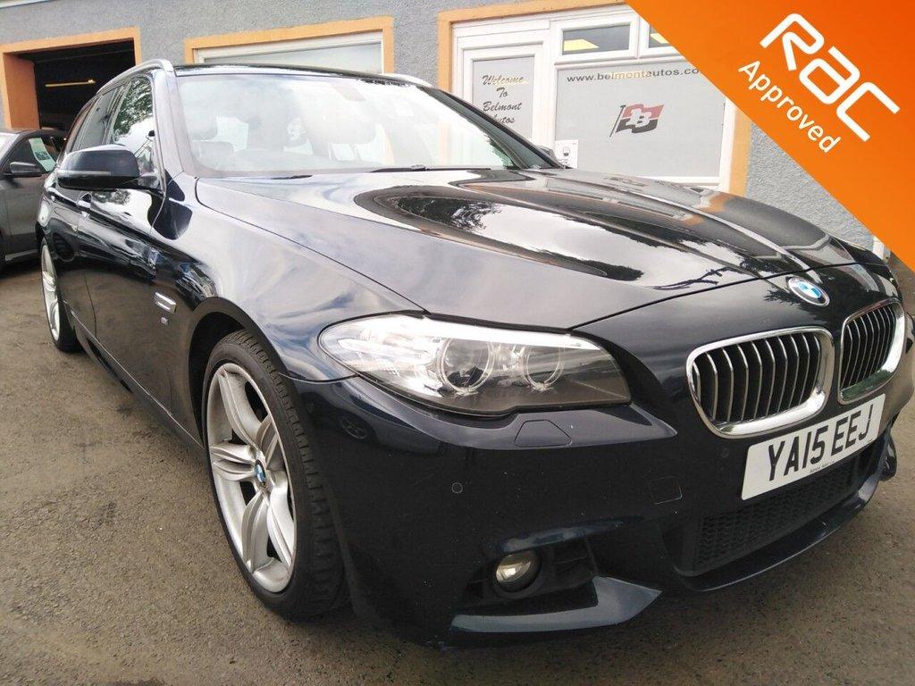 "USED 2015 15 BMW 5 SERIES 2.0 520D M SPORT 4d 188 BHP Black Leather, Colour Sat nav, Bluetooth, Parking sensors, Heated Seats, 19"" Alloys, Media player"