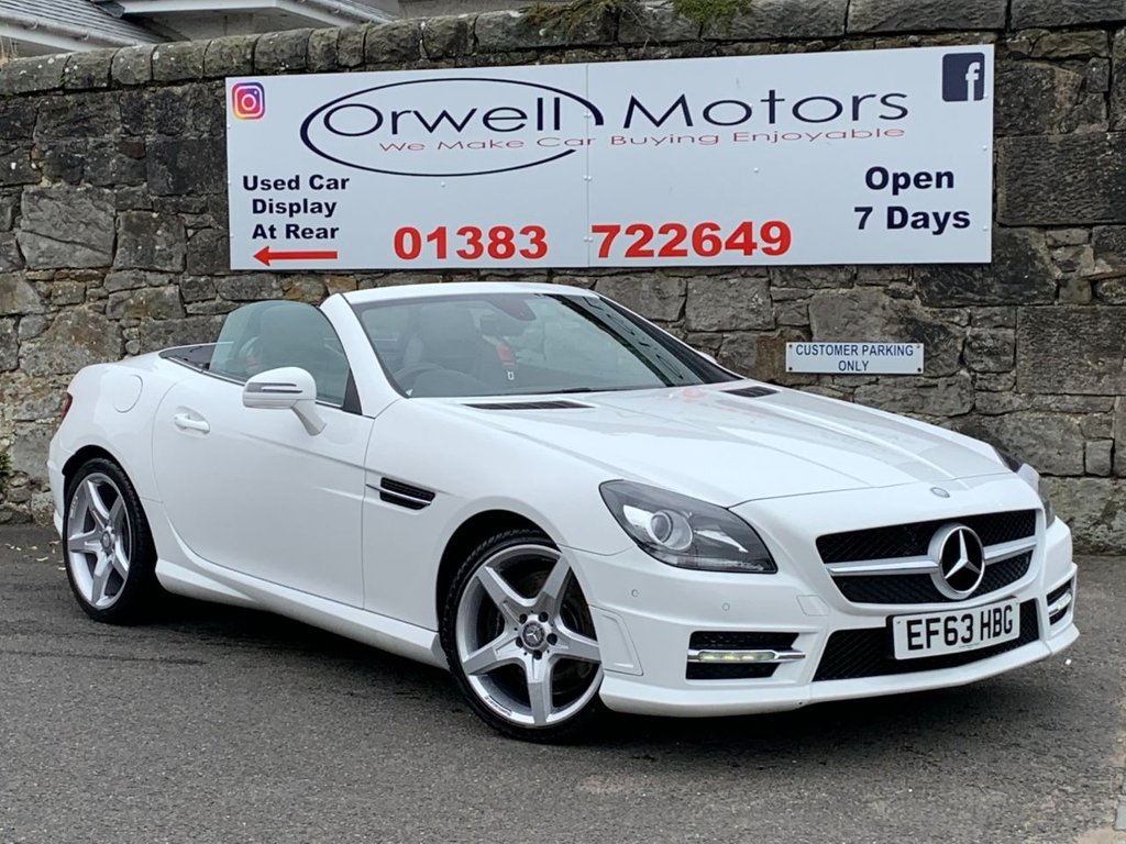 USED 2014 63 MERCEDES-BENZ SLK 2.1 SLK250 CDI BLUEEFFICIENCY AMG SPORT 2d 204 BHP FULL SERVICE HISTORY+2 OWNERS FROM NEW+SATELLITE NAVIGATION+PANORAMIC GLASS ROOF+HEATED SEATS+NECK LEVEL HEATING