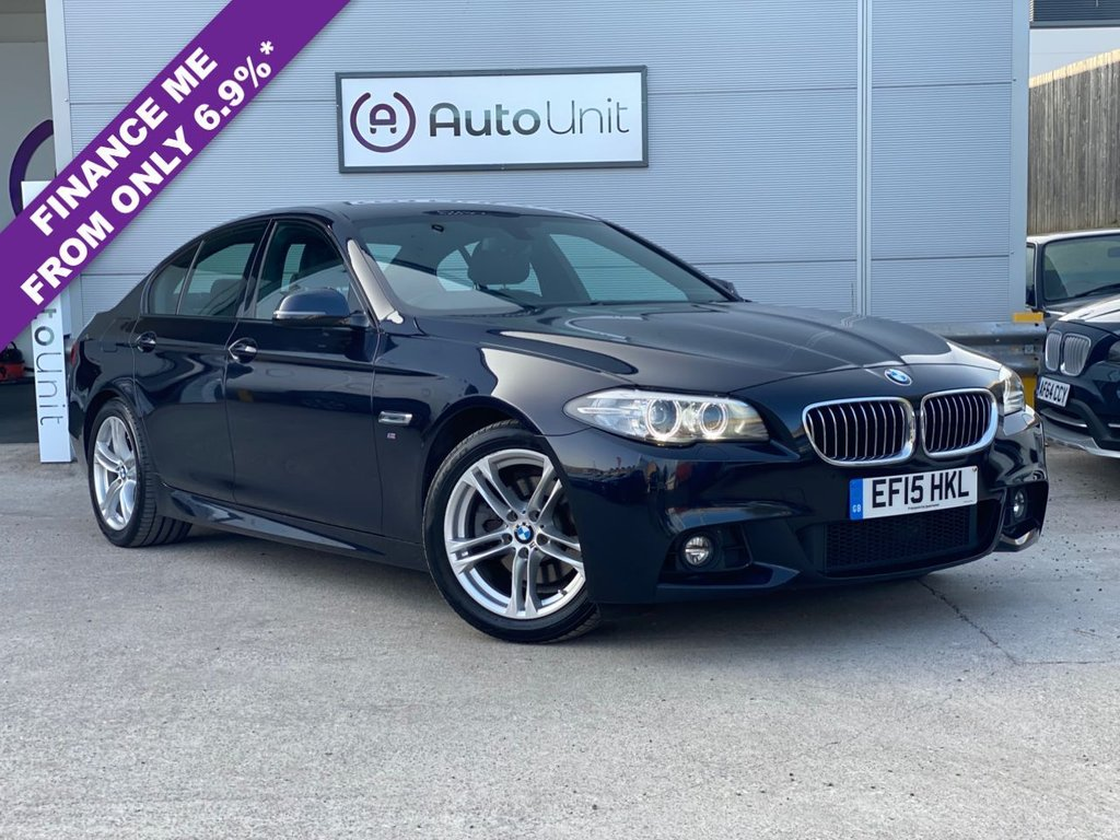 USED 2015 15 BMW 5 SERIES 2.0 520D M SPORT 4d 188 BHP AUTOMATIC FULL HISTORY + SAT NAV + HEATED LEATHER SEATS