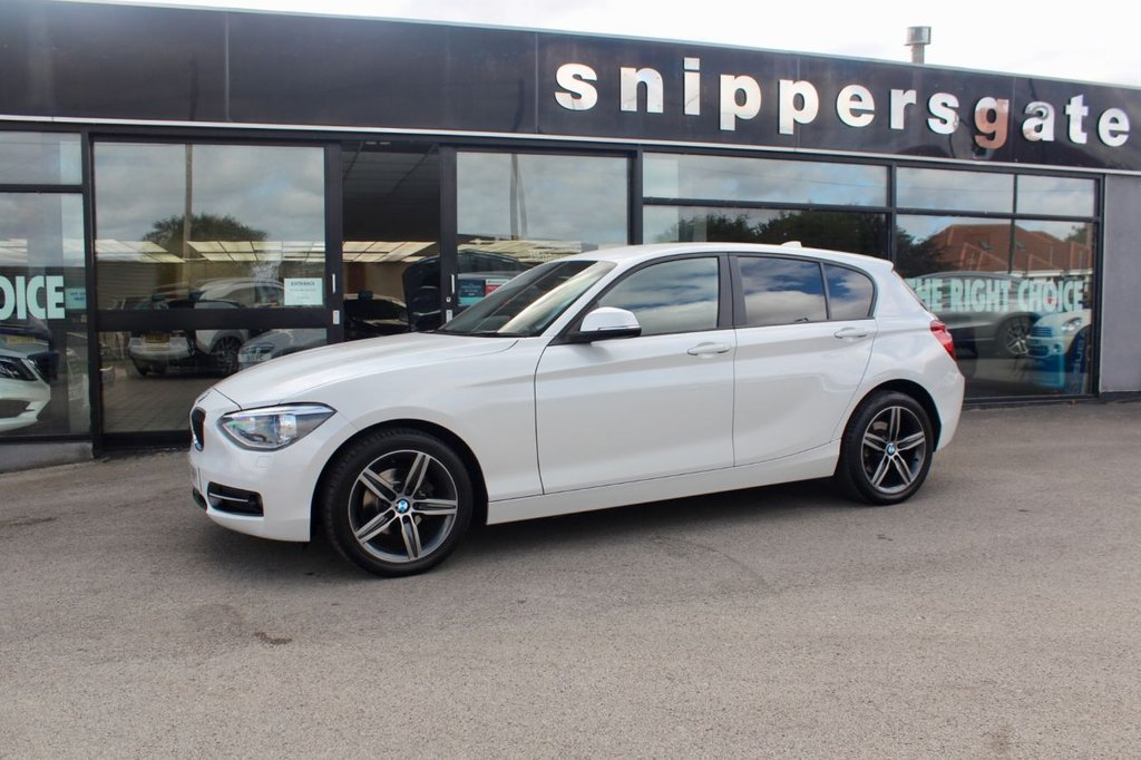 USED 2014 14 BMW 1 SERIES 1.6 116I SPORT 5d 135 BHP Mineral White Metallic, Sun Protection Glazing, Sports Seats, DAB Tuner, Radio BMW Professional, Hands Free System With USB Interface, Bluetooth Phone, Sport Line, Retractable Front Armrest, High Gloss Black Interior Trim,  Multi Function Sports Steering Wheel, Remote Central Locking, 2 Keys and Book Pack, Full Service History.
