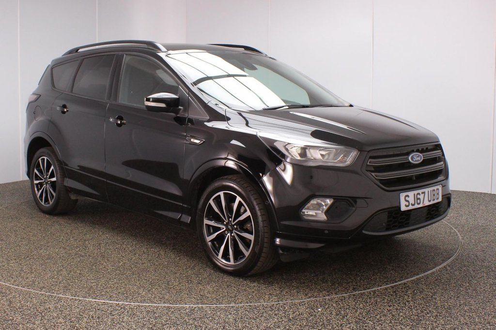 USED 2017 67 FORD KUGA 1.5 ST-LINE TDCI 5DR AUTO 119 BHP SERVICE HISTORY + HALF LEATHER SEATS + PARK ASSIST + SATELLITE NAVIGATION + PARKING SENSOR + BLUETOOTH + CRUISE CONTROL + CLIMATE CONTROL + MULTI FUNCTION WHEEL + PRIVACY GLASS + XENON HEADLIGHTS + DAB RADIO + USB PORT + ELECTRIC WINDOWS + ELECTRIC/HEATED/FOLDING DOOR MIRRORS + 18 INCH ALLOY WHEELS