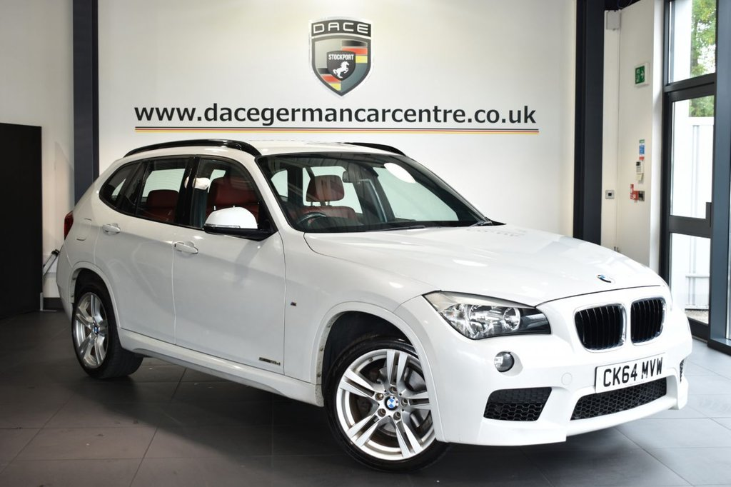 USED 2014 64 BMW X1 2.0 SDRIVE18D M SPORT 5DR AUTO 141 BHP Finished in a stunning mineral metallic white styled with alloys. Upon opening the drivers door you are presented with full red leather interior, full service history, bluetooth, dab radio, Multifunction steering wheel, sport seats, Automatic air conditioning, rain sensors, Driving experience switch incl. ECO PRO, parking sensors