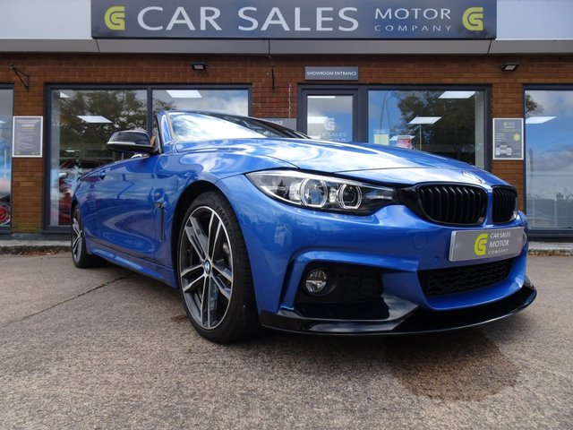 """USED 2018 18 BMW 4 SERIES 2.0 430I M SPORT 2d Convertible LOW MILEAGE ONLY 8K MILES, FULLY LOADED WITH 6K OF OPTIONAL EXTRAS, SAT NAV, LEATHER, M PERFORMANCE STYLING, HARMON KARDON AUDIO, REVERSE CAMERA, DIGITAL COCKPIT, APPLE CAR PLAY, BLUETOOTH, 19"""" M SPORT ALLOYS, HPI CLEAR, 2 REMOTE KEYS"""