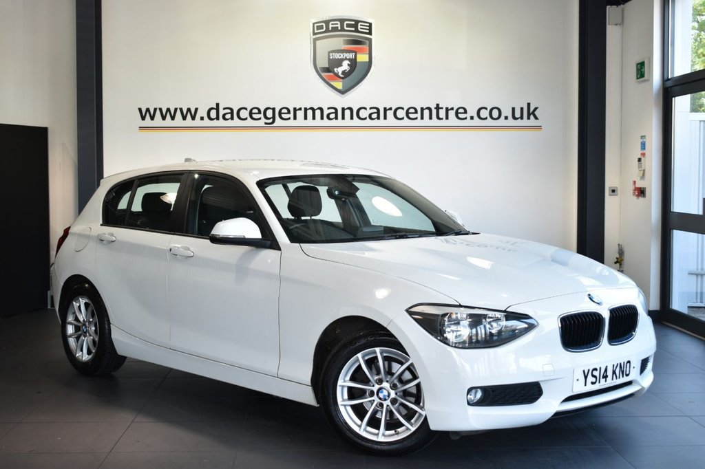 USED 2014 BMW 1 SERIES 1.6 116D EFFICIENTDYNAMICS 5DR 114 BHP Finished in a stunning alpine white styled with alloys. Upon opening the drivers door you are presented with cloth upholstery, full service history, satellite navigation, bluetooth, dab radio, Multifunction steering wheel, Rain sensors, parking sensors