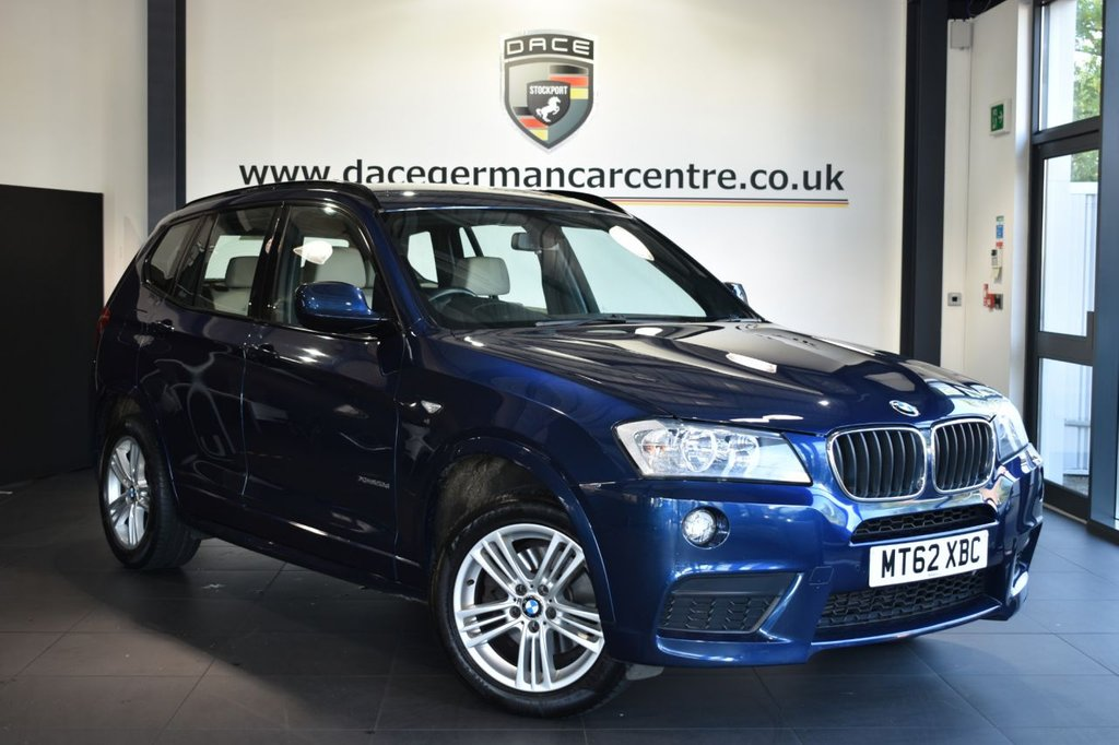 USED 2012 62 BMW X3 2.0 XDRIVE20D M SPORT 5DR AUTO 181 BHP Finished in a stunning deep sea metallic blue styled with alloys. Upon opening the drivers door you are presented with full oyster leather interior, full service history, heated seats, dab radio, cruise control, Multifunction steering wheel, Automatic air conditioning, rain sensors, Light package, Performance Control, parking sensors