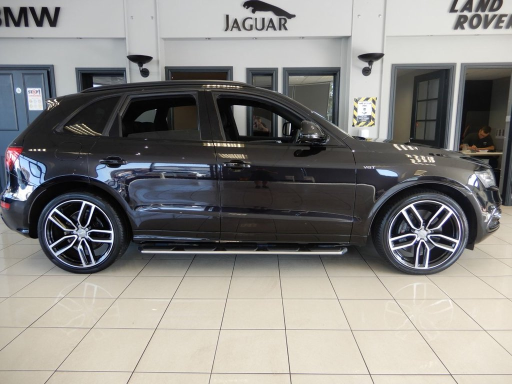 USED 2017 17 AUDI SQ5 3.0 SQ5 PLUS TDI QUATTRO 5d AUTO 335 BHP FINISHED IN STUNNING METALLIC BLACK WITH FULL BLACK LEATHER SLINE EMBOSSED, QUILTED LEATHER HEATED SEATS + ABSOLUTELY BEAUTIFUL CAR + 1 OWNER FROM NEW WITH A FULL SERVICE HISTORY AND IN IMMACULATE CONDITION THROUGHOUT + TOUCH SCREEN SATELLITE NAVIGATION + REVERSE CAMERA + XENON HEADLIGHTS + SIDE STEPS + ELECTRIC ADJUSTABLE SEATS WITH MEMORY SYSTEM + BANG & OLUFSON SOUND SYSTEM + DAB DIGITAL RADIO + BLUETOOTH MUSIC INTERFACE + QUATTRO + DUAL ZONE AIR CONDITIONING + ECO STOP/START SYSTEM