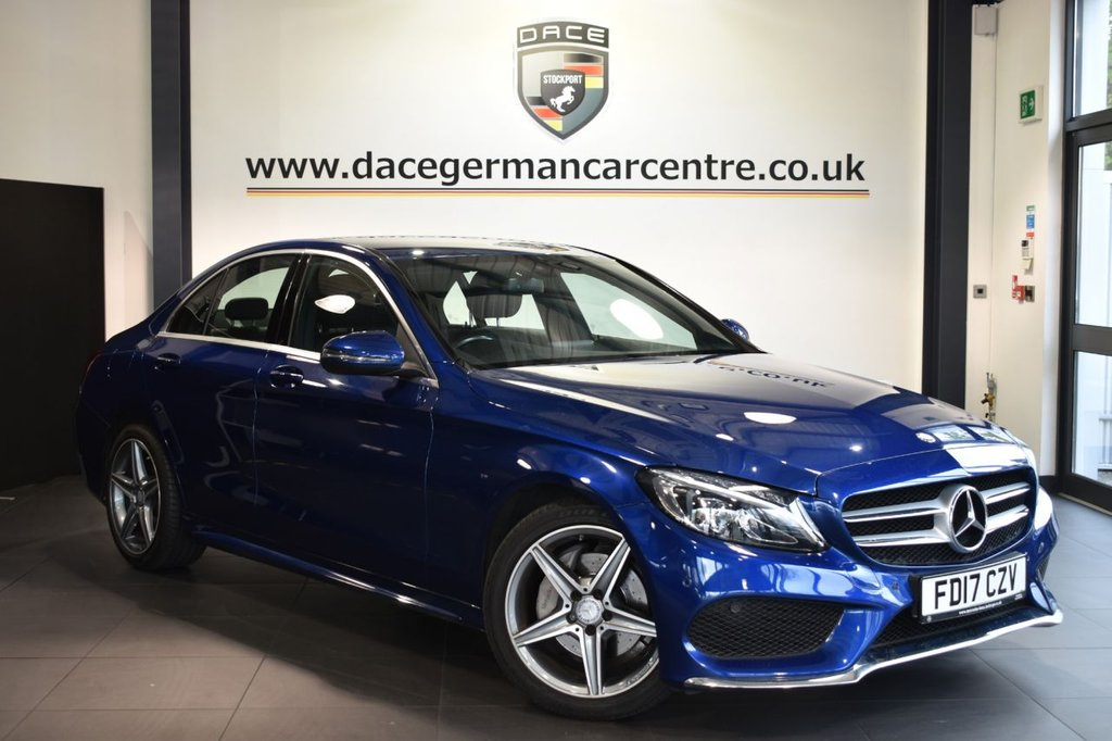 """USED 2017 17 MERCEDES-BENZ C-CLASS 2.1 C 220 D AMG LINE 4DR AUTO 170 BHP Finished in a stunning brilliant metallic blue styled with 18"""" alloys. Upon opening the drivers door you are presented with full leather interior, full service history, satellite navigation, bluetooth, heated seats, dab radio, reversing camera, cruise control, touchpad with rotary pushbutton, electric folding mirrors, AMG styling package, active park assist"""