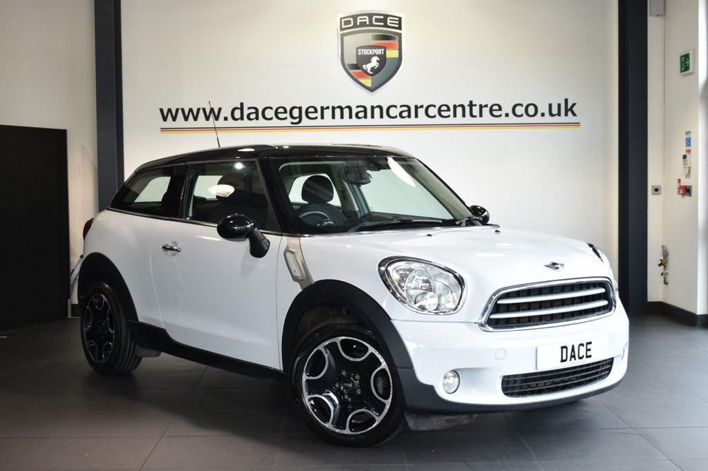 USED 2014 D MINI PACEMAN 1.6 COOPER 3DR 122 BHP Finished in a stunning light white styled with alloys. Upon opening the drivers door you are presented with carbon black upholstery, full service history, bluetooth, dab radio, Automatic air conditioning, On-board computer, Light package, Rain sensors, Radio MINI Boost CD, pepper pack, parking sensors