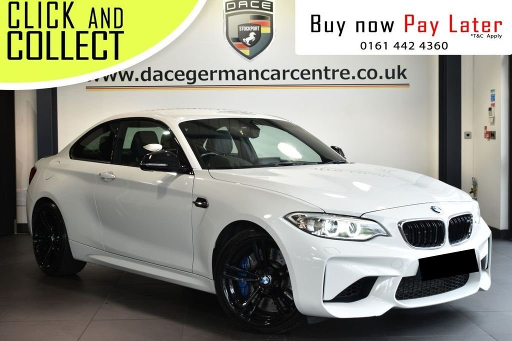 USED 2016 16 BMW M2 3.0 2DR AUTO 365 BHP Finished in a stunning alpine white styled with alloys. Upon opening the drivers door you are presented with leather interior, full service history, satellite navigation, bluetooth, heated sport seats with memory, dab radio, xenon lights, Adaptive Headlights, harman/kardon speakers, cruise control, Automatic air conditioning, rain sensors, parking sensors