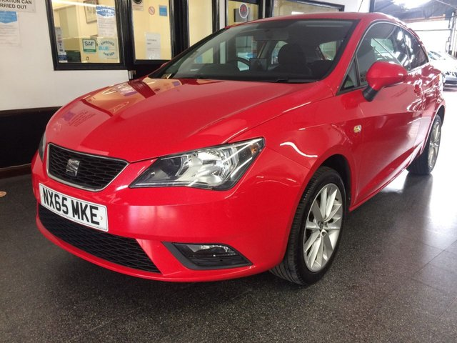 USED 2015 65 SEAT IBIZA 1.4 TOCA 3d 85 BHP This Ibiza Toca 3 door is finished in Emocion Red with Black cloth seats. It is fitted with power steering, remote locking, electric windows and mirrors, Air conditioning, Garmin Sat Nav, Bluetooth, alloy wheels, CD Stereo and more. It has had two lady owners from new. It comes with a service history consisting of stamps and some accompanying invoices. The current Mot runs till March 2021. We will include a service, 12 months MOT and 6 months insured RAC warranty with option to extend.