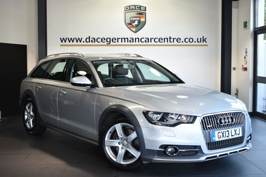 "USED 2013 13 AUDI A6 AllRoad 3.0 TDI QUATTRO 5DR AUTO 241 BHP Finished in a stunning ice metallic silver styled with 18"" alloys. Upon opening the drivers door you are presented with full black leather interior, full service history, satellite navigation, bluetooth, heated seats, dab radio, cruise control, climate control, heated mirrors, parking sensors"