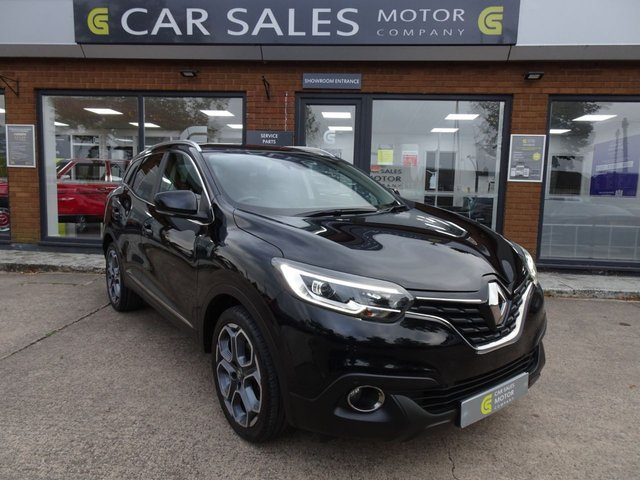 USED 2016 66 RENAULT KADJAR 1.2 DYNAMIQUE S NAV TCE 5d 130 BHP ONE OWNER FROM NEW, SAT NAV, BLUETOOTH, AIR CON, PARTIAL LEATHER, 18 INCH ALLOYS, REAR PRIVACY GLASS, LAST SERVICE AT 37K IN JULY 20, MOT TILL MARCH 2021 NO ADVISORIES, HPI CLEAR