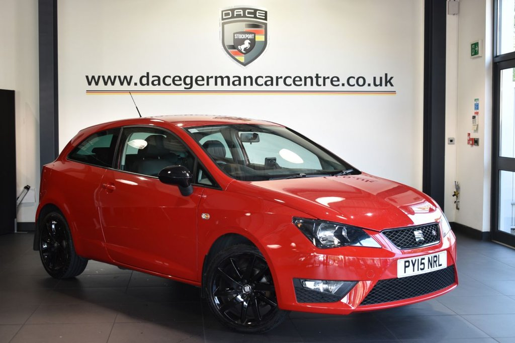 """USED 2015 15 SEAT IBIZA 1.2 TSI FR BLACK 3DR 104 BHP Finished in a stunning red styled with 17"""" alloys. Upon opening the drivers door you are presented with half leather interior, full service history, satellite navigation, bluetooth, sport seats, air conditioning, auxiliary port"""
