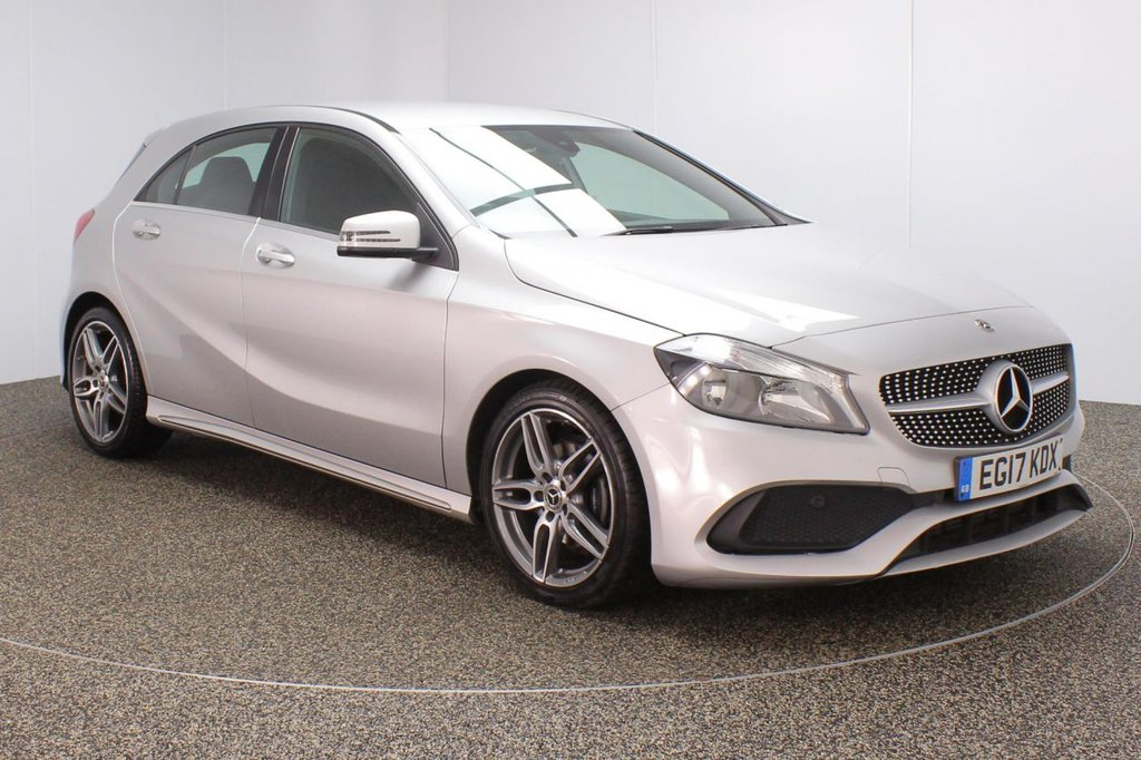 USED 2017 17 MERCEDES-BENZ A-CLASS 1.5 A 180 D AMG LINE 5DR 1 OWNER 107 BHP FULL SERVICE HISTORY + HALF LEATHER SEATS + SATELLITE NAVIGATION + REVERSE CAMERA + BLUETOOTH + CRUISE CONTROL + CLIMATE CONTROL + MULTI FUNCTION WHEEL + RADIO/CD/USB + ELECTRIC WINDOWS + ELECTRIC MIRRORS + 18 INCH ALLOY WHEELS