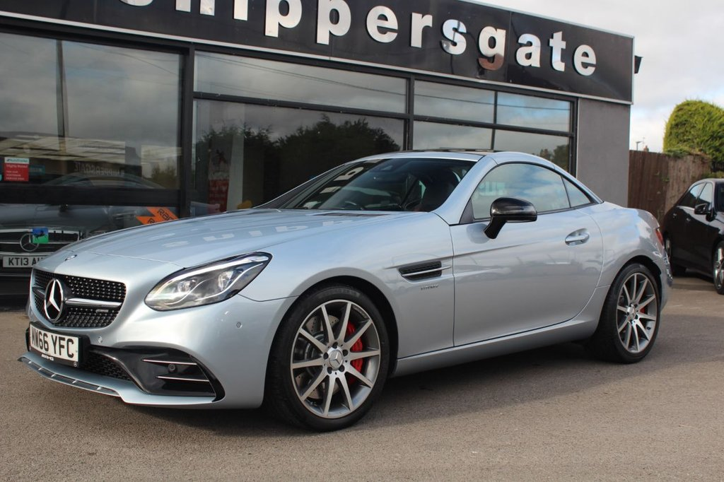 USED 2016 66 MERCEDES-BENZ SLC 3.0 AMG SLC43 V6 2d 362 BHP Diamond Silver Metallic SLC 43, Electric Memory Seats, 1 Previous Owner, Red/Black Two Tone Leather Interior, AMG Illuminated Door Sills, AMG Performance Package, Heated Seats, Airacarf, Airguide Pack, ICW Dashboard Clock, Rear View Camera, Parking Guidance, Auto Dimming Mirrors, Cup Holder, Rain Sensor, Satellite Navigation, Panoramic Glass Roof, Automatic Climate Control, Automatic High Beam Switch, Tyre Pressure Monitor, Electric Folding Mirrors, DAB Radio, Logo Protection Via Mirrors, Dynami