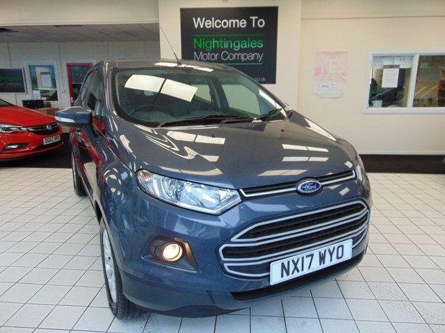USED 2017 17 FORD ECOSPORT 1.5 ZETEC TDCI 5d 94 BHP THIS POPULAR FORD ECOSPORT 1.5 TDCI ZETEC 5 DOOR COMES WITH fULL SERICE HISTORY + BLUETOOTH + ALLOY WHEELS + REMOTE CENTRAL LOCKING + ELECTRIC WINDOWS + QUICK CLEAR WINDSCREEN + AIR CONDITIONING + 4.2 TFT COLOR DISPLAY SCREEN + VOICE CONTROL + 60/40 REAR SEAT SPLIT +DRIVERS ARMREST + CUP HOLDERS + ISOFIX + FRONT FOG LIGHTS + DAYTIME RUNNING LIGHTS + HILL START ASSIST + THATCHAM ALARM + TRACTION CONTROL + UNDER SEAT STORAGE + RADIO/CD PLAYER + USB + DRIVERS SEAT HEIGHT ADJUSTMENT