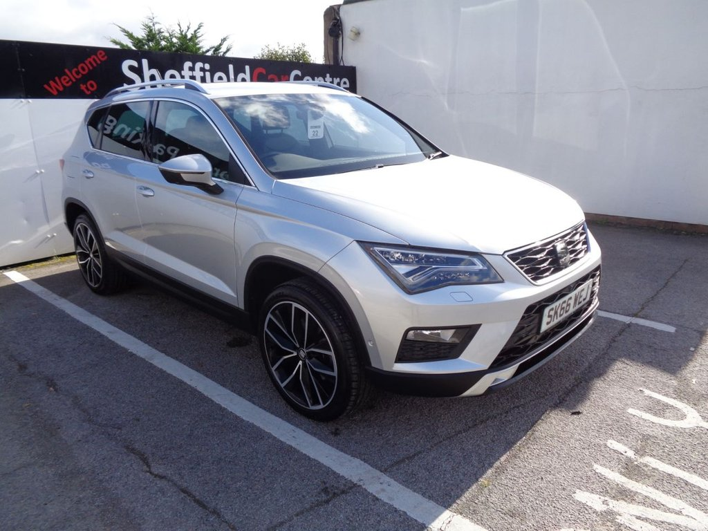 USED 2016 66 SEAT ATECA 2.0 TDI 4DRIVE XCELLENCE 5d 148 BHP 4X4 AWD 4WD Satellite Navigation  leather seats  climate and cruise control  bluetooth  heated seats  privacy glass   front and rear sensors