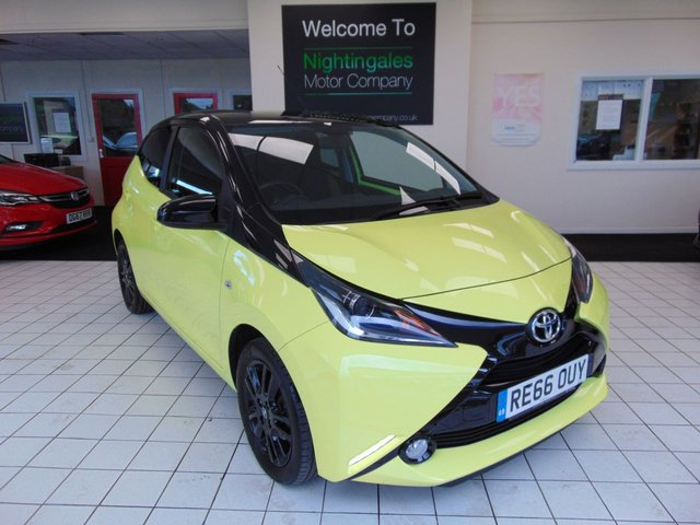 """USED 2016 66 TOYOTA AYGO 1.0 VVT-I X-CITE 3 5d 69 BHP THIS TOYOTA AUGO 1.0 VVTI X-CITE 3 5 DOOR COMES WITH FULL SERVICE HISTORY + 12 MONTHS MOT + BLUETOOTH + AIR CONDITIONING + ABS + DAB RADIO + PRIVACY GLASS + CENTRAL LOCKING + ZERO ROAD TAX + REVERING CAMERA + 15"""" BLACK ALLOY WHEELS + ELECTRIC DOOR MIRRORS + DRIVERS SEAT HEIGHT ADJUSTMENT + CUP HOLDERS FRONT AND REAR +50/50 REAR SEAT SPLIT + LED DAYTIME RUNNING LIGHTS + ISOFIX SEAT FIXINGS + FRONT FOG LIGHTS + HILL START ASSIST + VSC (VEHICLE STABILITY CONTROL + COMBINED FUEL FIGURES OF 68.9 MPG"""