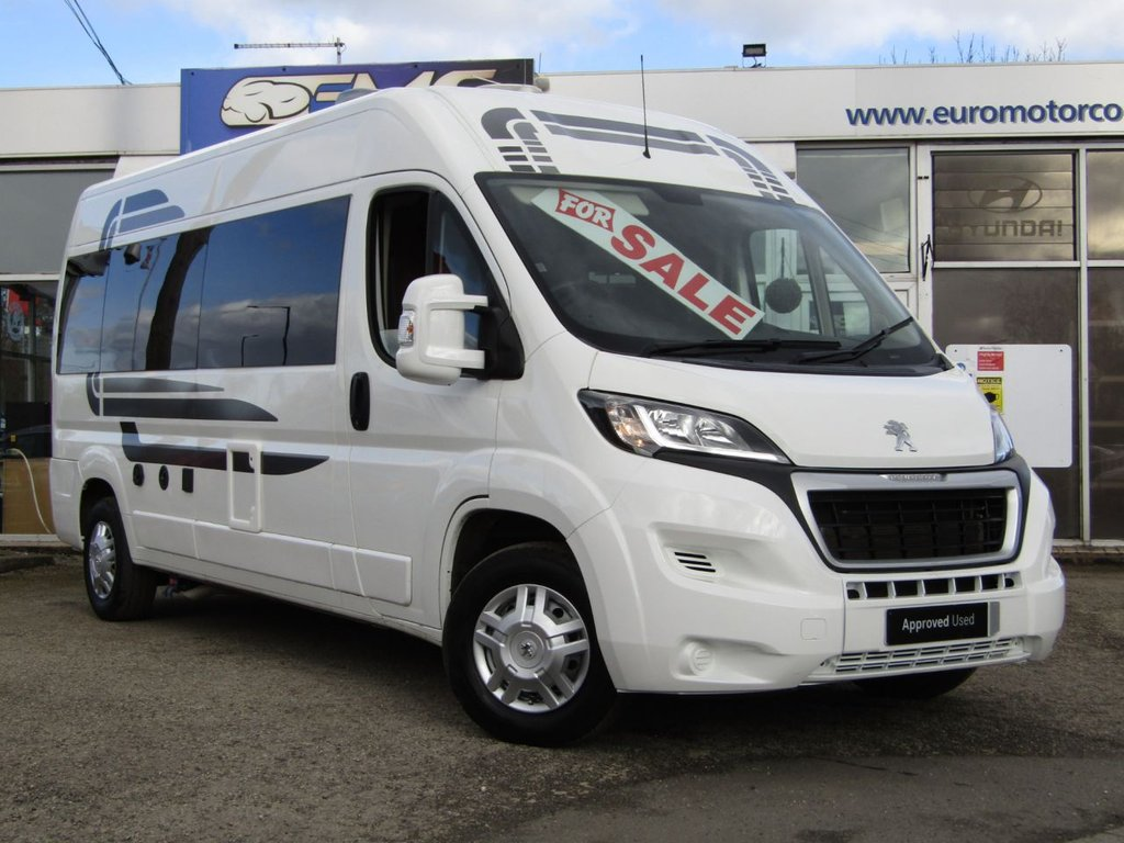 USED 2017 67 PEUGEOT MOTORHOME CONVERSION 2.0 BLUE HDI 335 L3H2 PROFESSIONAL P/V 130 BHP NEW CONVERSION into a 2 berth motorhome. Features include, Truma Boiler, Shower & Thetford toilet, Gas hob with sink, Split Charging system, 240v hook up, Captains front swivel seat, L.E.D Lighting, 240v plugs with USB Charging, 90L fridge 240/12v with freezer built in, Alloy wheels, LPG Certificate, LPG tank, 3 x Seitz opening windows with blinds, Leisure battery, Under Bed storage, Heavy Duty durable Lino floor, Digital TV' Ariel, Under water storage tanks fresh & waste, Insulated & carpeted,