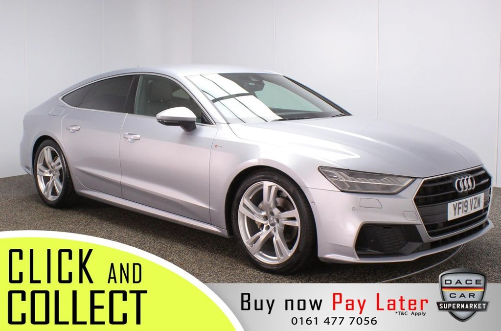 USED 2019 19 AUDI A7 2.0 SPORTBACK TDI S LINE 5DR 1 OWNER AUTO 202 BHP + VIRTUAL COCKPIT +FULL HISTORY  FULL AUDI SERVICE HISTORY + HEATED HALF LEATHER SEATS + AUDI VIRTUAL COCKPIT + SATELLITE NAVIGATION + REVERSE CAMERA + AROUND VIEW MONITOR + PARKING SENSOR + LANE ASSIST SYSTEM + BANG & OLUFSEN PREMIUM SPEAKERS + BLUETOOTH + CRUISE CONTROL + DELUXE CLIMATE CONTROL + MULTI FUNCTION WHEEL + LED HEADLIGHTS + PRIVACY GLASS + DAB RADIO + ELECTRIC/MEMORY FRONT SEATS + ELECTRIC WINDOWS + ELECTRIC/HEATED/FOLDING/MEMORY DOOR MIRRORS + 20 INCH ALLOY WHEELS