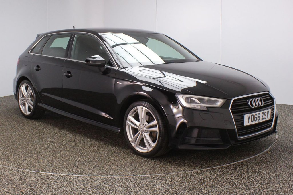 USED 2016 66 AUDI A3 1.6 TDI S LINE 5DR 1 OWNER AUTO 109 BHP FULL SERVICE HISTORY + £20 12 MONTHS ROAD TAX + HALF LEATHER SEATS + SATELLITE NAVIGATION + BLUETOOTH + CRUISE CONTROL + CLIMATE CONTROL + MULTI FUNCTION WHEEL + XENON XEADLIGHTS + DAB RADIO + AUX/USB/SD PORTS + ELECTRIC WINDOWS + ELECTRIC/HEATED DOOR MIRRORS + 18 INCH ALLOY WHEELS