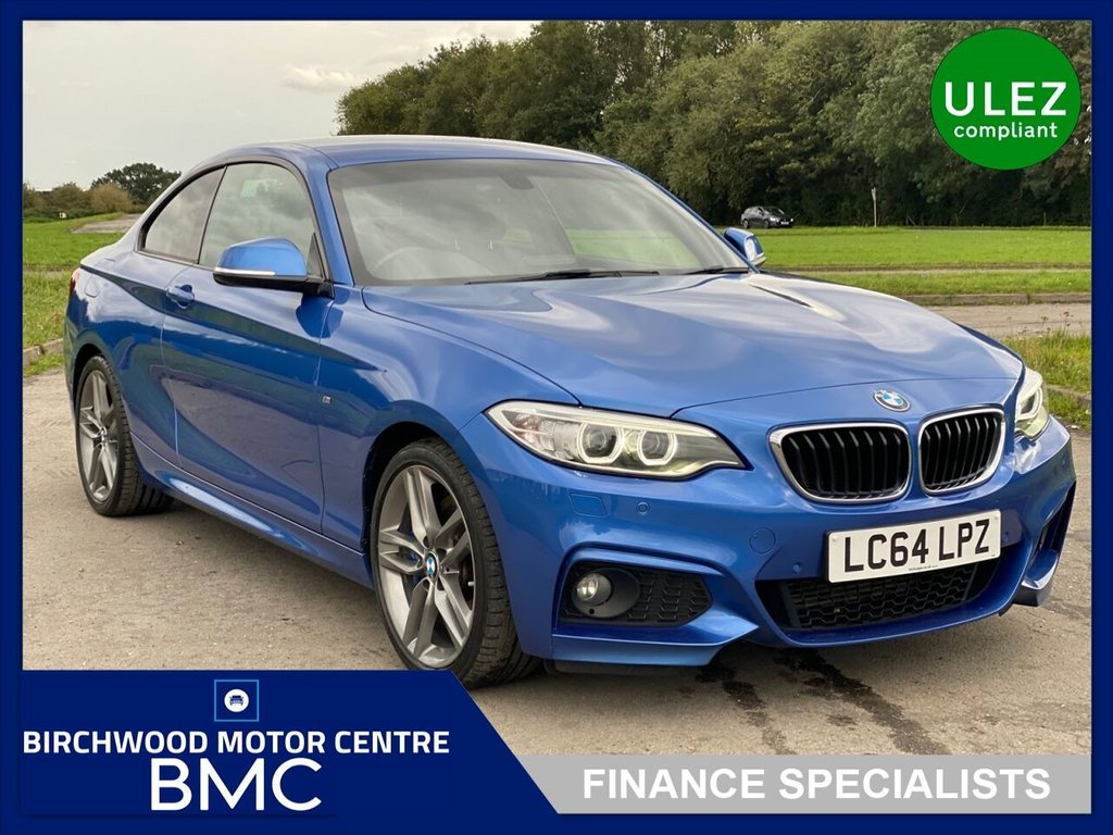 USED 2015 64 BMW 2 SERIES 2.0 218D M SPORT 2d 141 BHP, EURO 6 Ulez Compliant, JUST 41,000miles, FULL LEATHER, CRUISE, PARKING SENSORS, 18