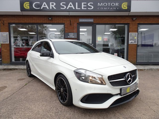 """USED 2017 17 MERCEDES-BENZ A-CLASS 2.1 A 200 D AMG LINE EXECUTIVE 5d 134 BHP ONE OWNER, LOW MILEAGE 25K, FULL SERVICE HISTORY, SAT NAV, REVERSE CAMERA,NIGHT PACKAGE, EXECUTIVE PACKAGE, 18"""" MULTI SPOKE AMG ALLOYS WITH PIRELLI TYRES ALL ROUND, FULL SERVICE HISTORY, MOT TILL OCT 2021 NO ADVISORIES, HPI CLEAR,"""