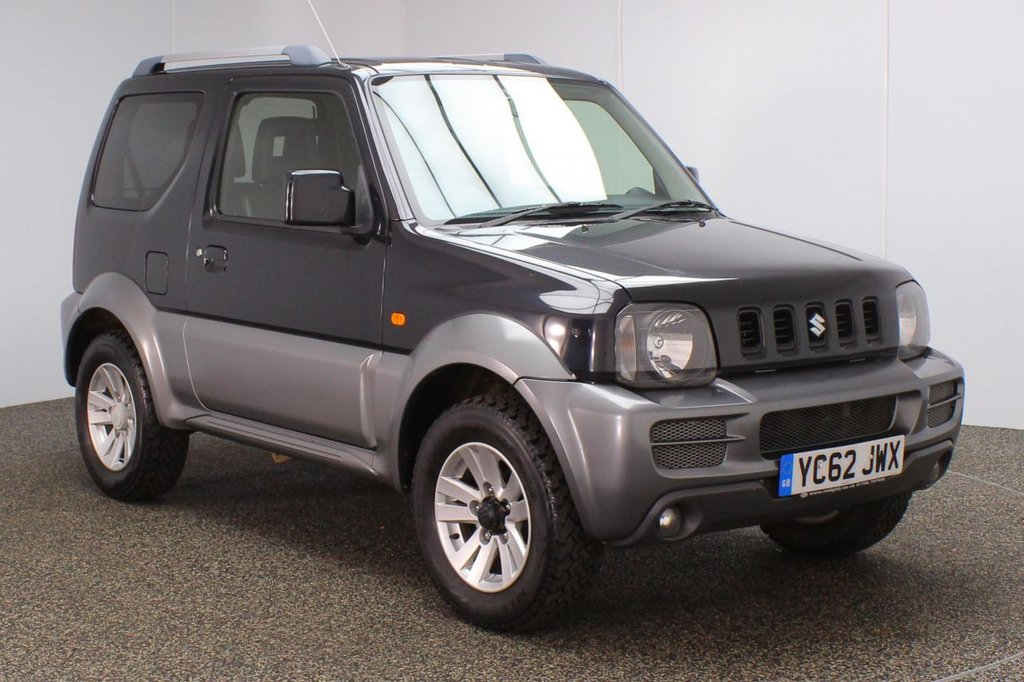 USED 2012 62 SUZUKI JIMNY 1.3 SZ4 3DR 85 BHP FULL SERVICE HISTORY + HALF LEATHER SEATS + AIR CONDITIONING + RADIO/CD + PRIVACY GLASS + ELECTRIC WINDOWS + ELECTRIC/HEATED DOOR MIRRORS + 15 INCH ALLOY WHEELS