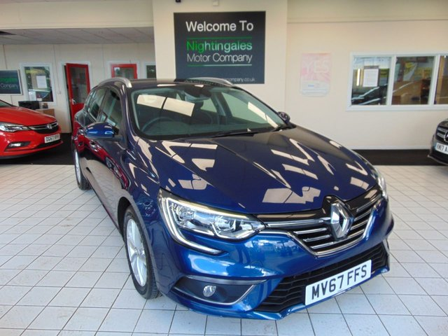 """USED 2018 67 RENAULT MEGANE 1.5 DYNAMIQUE NAV DCI 5d 110 BHP THIS RARE RENAULT MEGANE 1.5 DCI DYNAMIQUE  SPORTS TOURER COMES AS A ONE OWNER + FULL SERVICE HISTORY + JAN 2021 MOT + SATELLITE NAVIGATION + BLUETOOTH + 7"""" TFT DISPLAY SCREEN + CRUISE CONTROL + CLIMATE CONTRAL + REAR PARK SENSORS + DAB RADIO WITH USB CONNECTION + ECO MODE + DAYTIME RUNNING LIGHTS + FRONT FOG LIGHTS + ISOFIX + CAT 1 ALARM SYSTEM + DAB RADIO + AUTO LIGHTS + AUTO WIPERS + 17"""" ALLOYS + HILL START ASSIST + ELECTRIC WINDOWS + REMOTE CENTRAL LOCKING + GREAT MPG"""