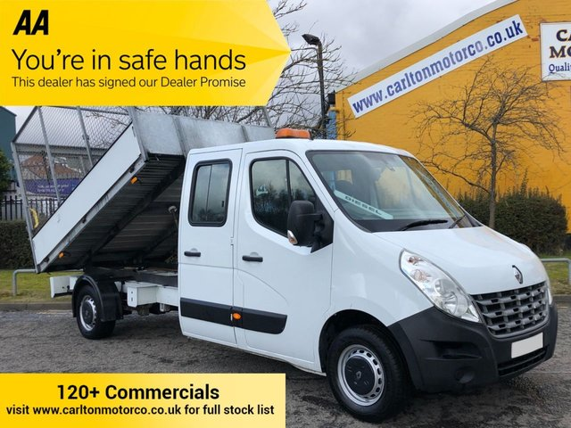 2013 63 RENAULT MASTER 2.3 LL35 DCI 150 D/CAB TIPPER CAGED REFUGE BODY